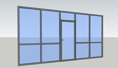 Cgp Office Partition System Glass Aluminum Wall 17 X 9 W Door Clear Anodized
