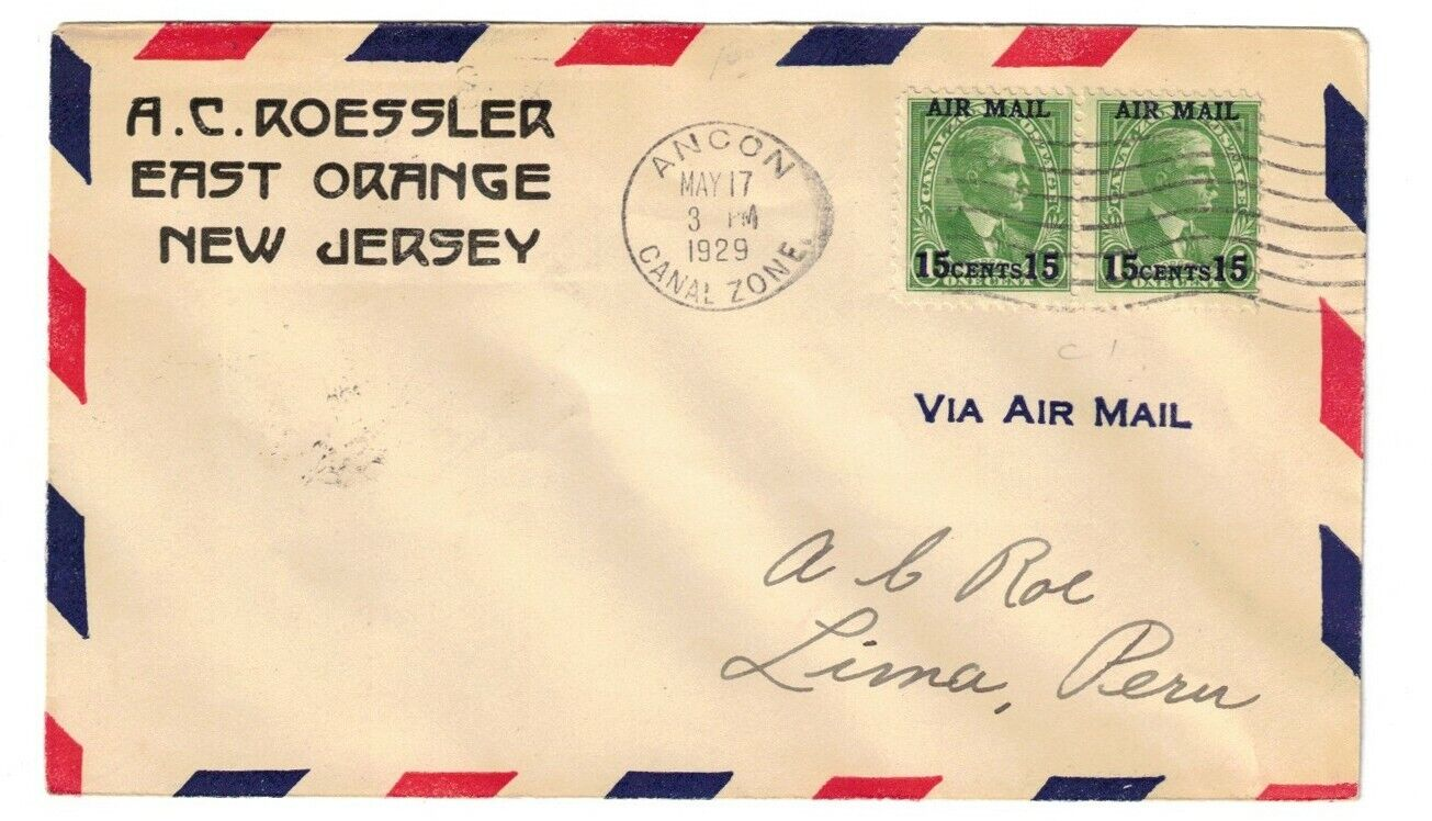 CANAL ZONE FIRST FLIGHT TO LIMA, PERU, MAY 17, 1929, C1 PAIR - $7.00
