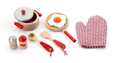 Viga Children's/Kids Wooden Cooking Tool Set - Red -