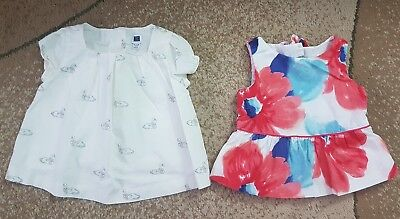 Janie and Jack Lot of 2 Baby Girl Dress Tunic Flower Swan 12-18 Month