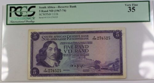 (1967-1974) South Africa 5 Rand ND Reserve Bank Note SCWPM# 111b PCGS VF-35
