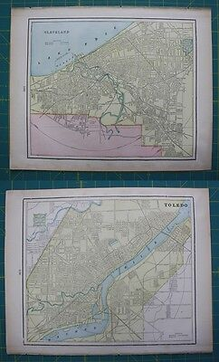 Cleveland, OH Toledo, OH Vintage Original 1899 Cram's World Atlas Map Lot