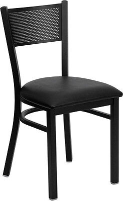 Flash Furniture Hercules Series Black Grid Back Metal Restaurant Chair -...