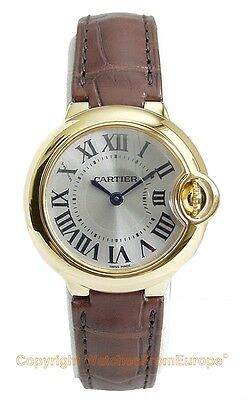 CARTIER Ballon Bleu 18k Yellow Gold 28mm Watch W6900156 Box/Papers/Warranty !!