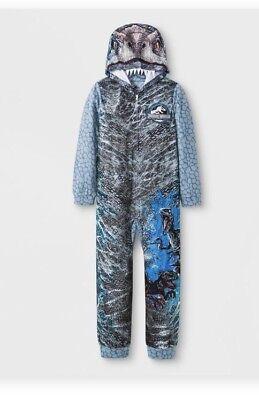 Boys Blue Dinosaur (Boys Jurassic World Blue Gray Dinosaur Raptor Pajamas Sleeper S 6 6X)
