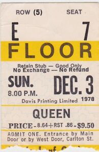 WANTED QUEEN CONCERT TICKET STUBS FROM CANADA