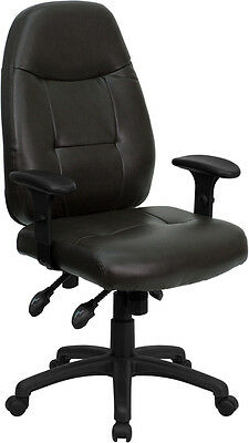 Brown Leather Ergonomic Task Computer Office Desk Chair