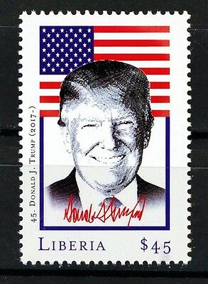 Donald J Trump 45th President of the United States $45.00 MNH Stamp from Liberia