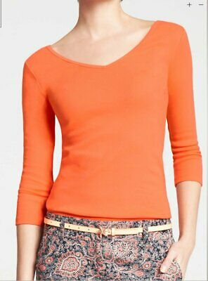 3/4 Double V-neck Tee (NWT Ann Taylor Orange Double V-Neck 3/4 sleeves women's stretch T-Shirt)