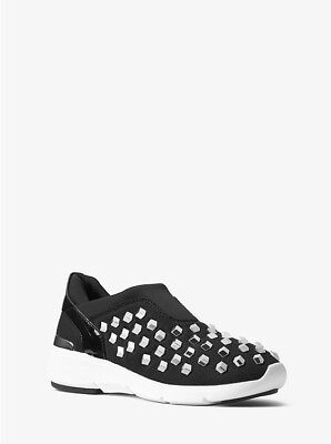 NIB MICHAEL KORS Sneakers Black Beads Shoes Ace Studded $165  Sz. - Beads Sneakers Shoes