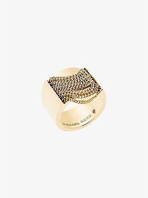 NWT!! MICHAEL KORS Gold-Tone Drapped Chains Ring Size 6
