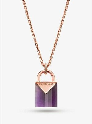 Michael Kors Women's 14K Rose Gold Sterling Silver Padlock Necklace MKC1039AV