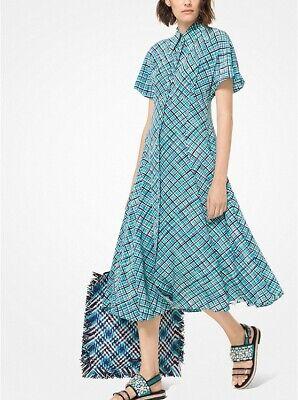 MICHAEL KORS COLLECTION Turquoise Check Plaid Print Silk Crepe Shirt-Dress 10 -