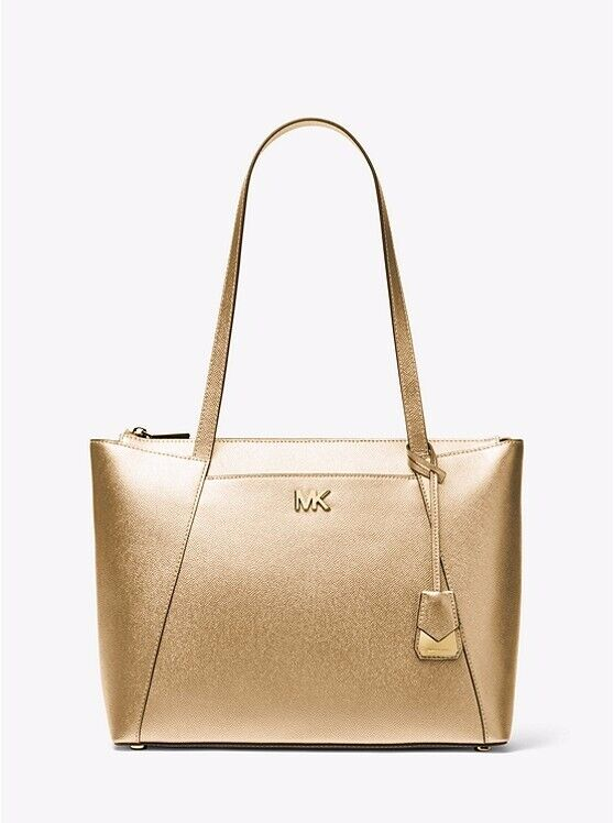 9e33b8a01c3f BRAND NEW WITH TAGS MICHAEL MICHAEL KORS Maddie Large Metallic Crossgrain Leather  Tote