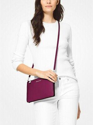 Michael Kors Adele Double Zip Gusset Crossbody Bag Clutch Pebble Leather Garnet
