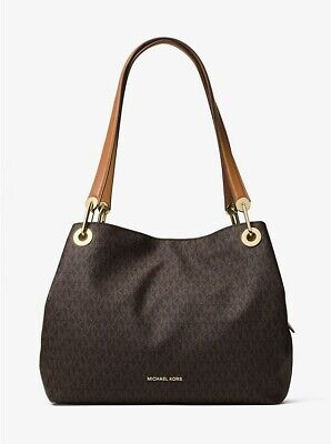 NWT Michael Kors Raven Large Signature Shoulder Tote Handbag Brown 30H6GRXE3V