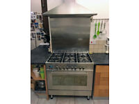 DeLonghi Cooker, Dual Fuel, 90cm, 6 Gas burners, Single large electric oven, Stainless steel