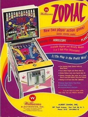 ZODIAC Pinball FLYER Original 1971 NOS Arcade Machine Artwork Horoscope Theme