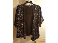 Black With Silver Sequence Light Jacket/cardigan