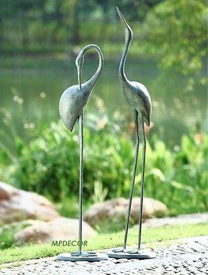 Stylized Contemplative Crane Pair Garden Bird Statue Heron Outdoor Pool Patio