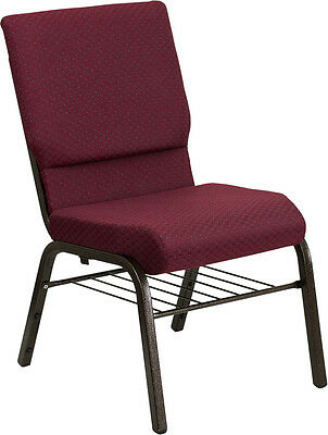 18.5w Burgundy Pattern Fabric Church Chair With Book Rack Gold Vein Frame