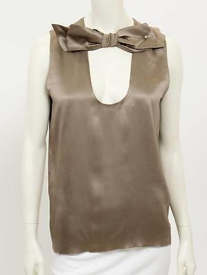 Beautiful Designer LANVIN Ladies Satin Taupe Sleeveless Top 40