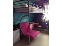 Metal High Bed with desk and stool