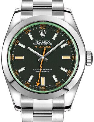 Rolex Milgauss Steel Black Dial Green Crystal Orange Hand Watch BoxPapers 116400