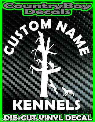 CUSTOM Dog KENNELS Vinyl DECAL Sticker Hunt Hunting Coon Deer Diesel Truck Car