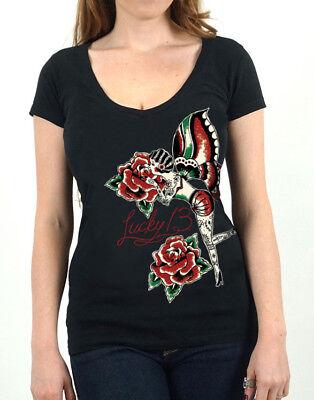 Lucky 13 t shirt women V Neck Rose Fairy Pin Up Girl Tattoo rockabilly oldschool - Girl Fairy T-shirt