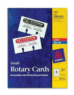 Nib Avery Laser Inkjet Small Rotary Cards 2 1 6  X 4  Template 5385 White 400Ct