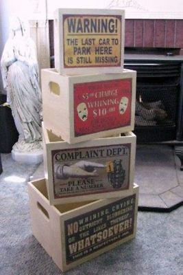 Wood Storage Boxes Set 4 Humorous Clean Your Room, No Whining, Complaint Dept.,