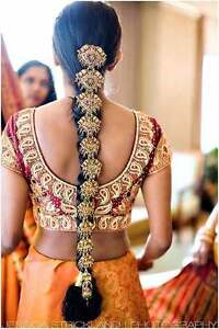 South Indian Purple Kundan Cz Gold Tone Choti Braid Hair Accessory Jewelry