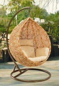 bn wicker hanging swing egg chair rattan in outdoor pod ebay