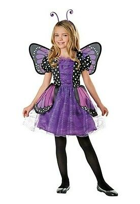 Halloween Purple Butterfly Costume with Wing & Headband Girl Size M 8-10 #278 - Butterfly Girl Halloween Costume