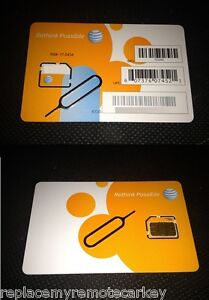 AT&T ATT Prepaid SIM card  - Micro Sim - IPad 2 - IPhone 4S 4