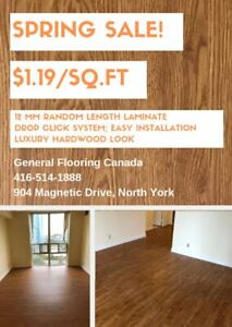 High Quality Hardwood Look 12mm Drop Click Laminate for $1.19/sf