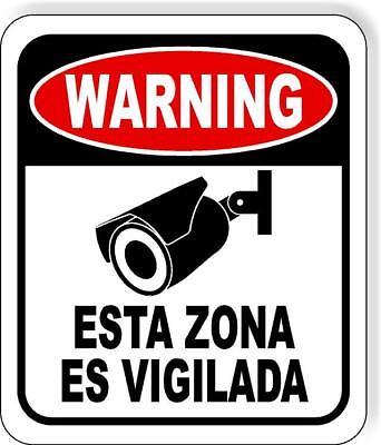 Spanish Warning Video Surveillance Security Camera Metal Outdoor Sign Long-last