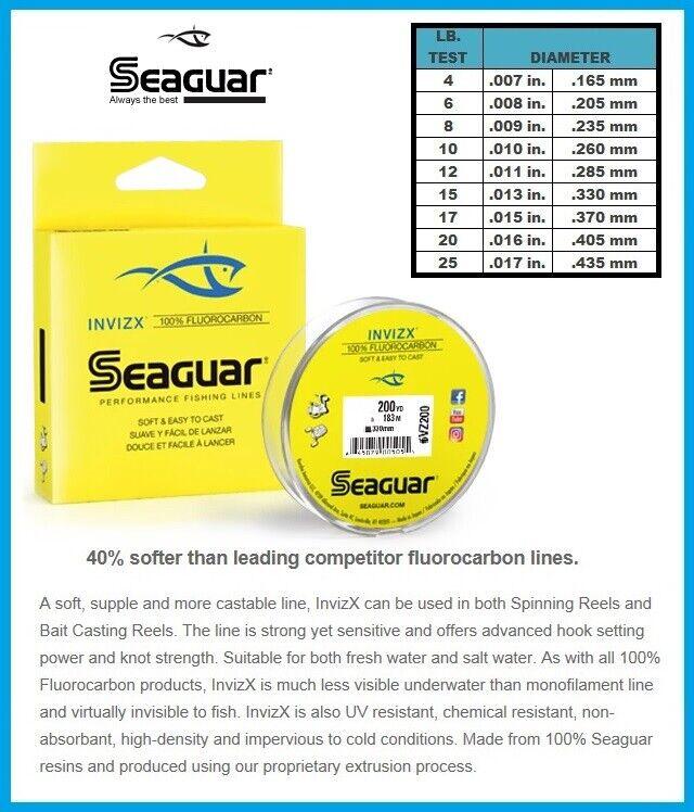 Seaguar Invizx 100/% Fluoro Fishing Line 200 yd 20 20VZ200