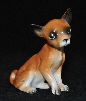Vintage Adorable Sweet Chihuahua Dog Sitting Figurine Porcelain Miniature