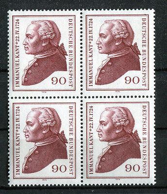 Saubere Kante (Bund 806 ** sauber postfrisch Viererblock VB ungefaltet Kant 1974 )