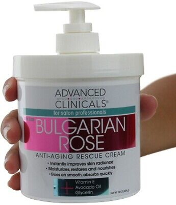 Advanced Clinicals Bulgarian Rose Oil Cream Anti-Aging Rescu