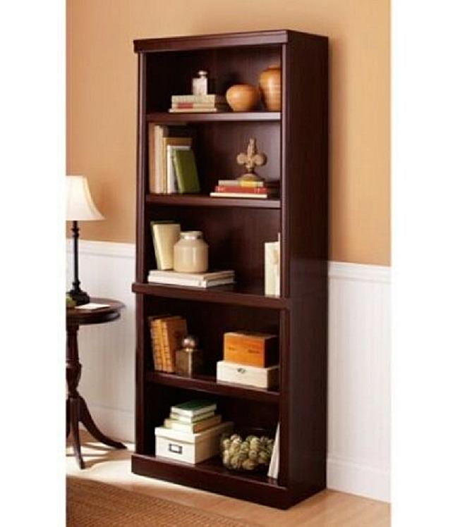 5 Shelf Wooden Bookcase Storage Display Adjustable Shelves B
