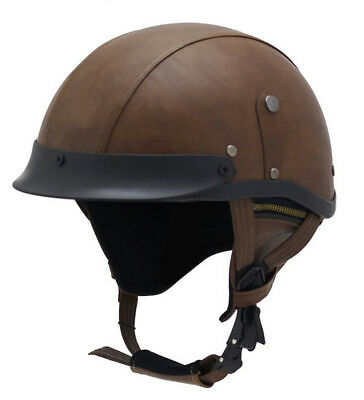 Leather Motorcycle Vintage Half Helmets Motorcycle Biker Cruiser Scooter Brown for sale  Shipping to Canada