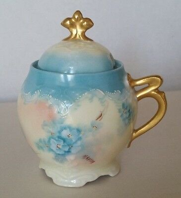 Antique Hand Painted Blue Floral Germany Porcelain Jam Jelly Jar