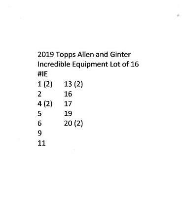 2019 Topps Allen and Ginter Incredible Equipment Lot of 16 w/Duplicates See List
