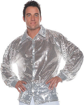 1970'S 70S 80S SILVER DISCO SHIRT SEQUIN COSTUME DANCE SATURDAY NIGHT FEVER - 80's Night Kostüm