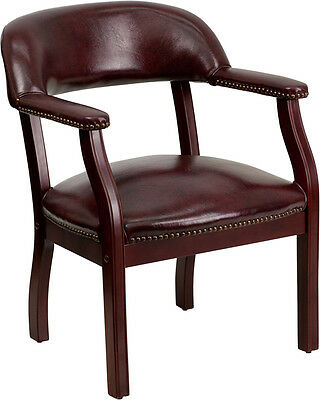 Burgundy Vinyl Reception Area Guest Side Office Chair