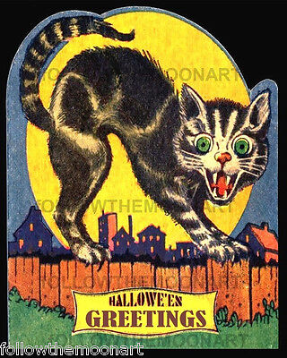 Halloween Greetings Scary Black Cat Vintage Full Moon 8 x 10  Wall Art Print