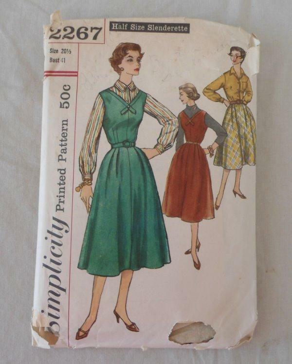 Vtg 50s Slenderette Simplicity Sewing Pattern 20 1/2 Jumper Blouse Skirt #2267